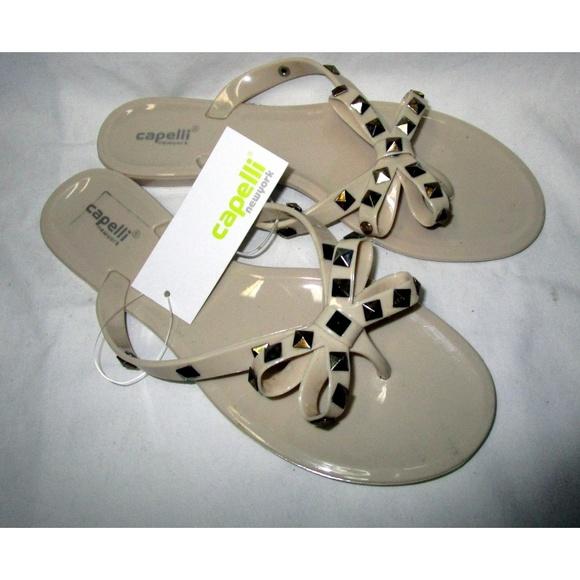 86f3fc8538fef Beige Studded Flip Flop Sandals Flats